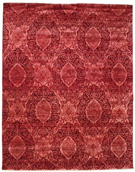 Damask Tappeto 235X297 Moderno Fatto A Mano Rosso Scuro/Beige Scuro ( India)