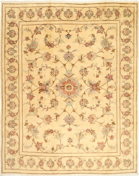 Yazd Rug 195X243 Authentic  Oriental Handknotted Light Brown/Dark Beige (Wool, Persia/Iran)