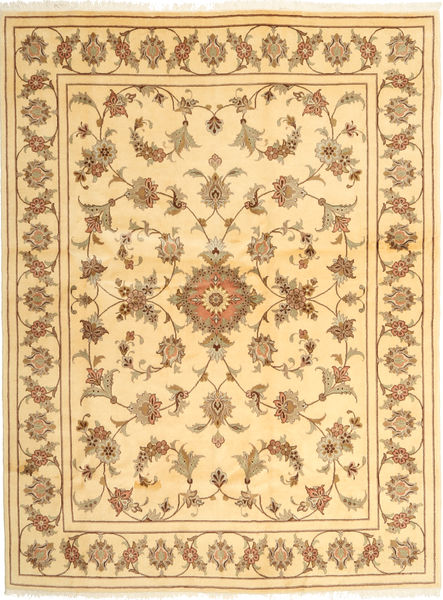 Yazd Rug 191X256 Authentic  Oriental Handknotted Light Brown/Dark Beige (Wool, Persia/Iran)