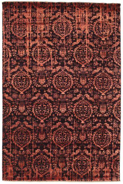 Damask Tappeto 198X300 Moderno Fatto A Mano Marrone Scuro/Rosso Scuro/Marrone ( India)