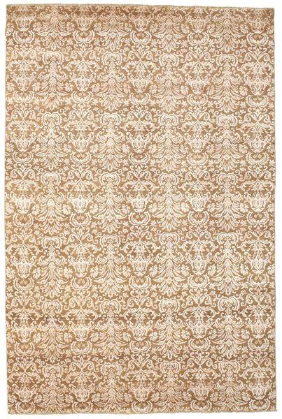 Damask Matto 203X306 Moderni Käsinsolmittu Vaaleanruskea/Beige ( Intia)
