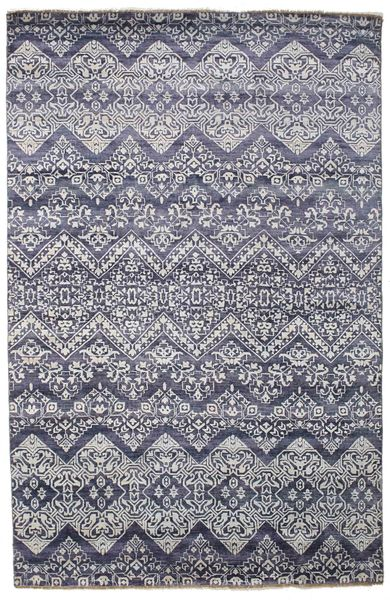 Damask Rug 200X305 Authentic  Modern Handknotted Light Purple/Light Grey/Dark Grey ( India)