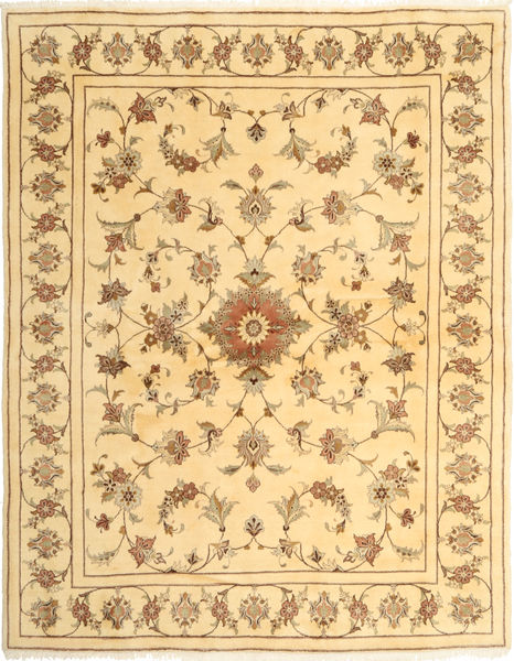 ヤズド 絨毯 200X250 オリエンタル 手織り 薄茶色/ライトピンク (ウール, ペルシャ/イラン)