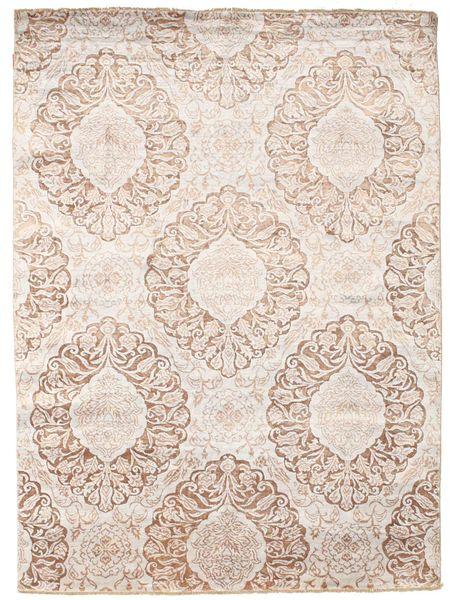 Damask Tapis 176X241 Moderne Fait Main Blanc/Crème/Beige/Gris Clair ( Inde)