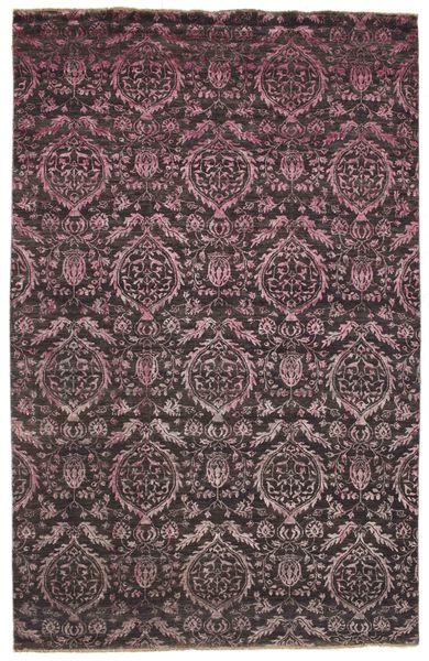 Damask Tappeto 193X300 Moderno Fatto A Mano Blu Scuro/Marrone Scuro ( India)