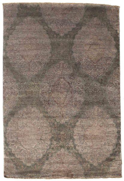 Damask Dywan 160X237 Nowoczesny Tkany Ręcznie Jasnoszary/Brązowy/Ciemnobrązowy ( Indie)