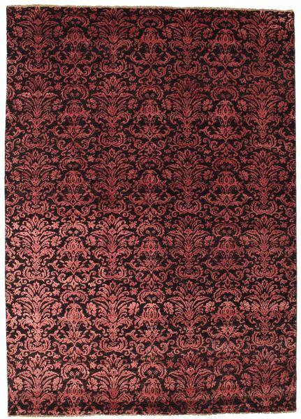 Damask Tappeto 174X244 Moderno Fatto A Mano Rosso Scuro/Marrone Scuro ( India)