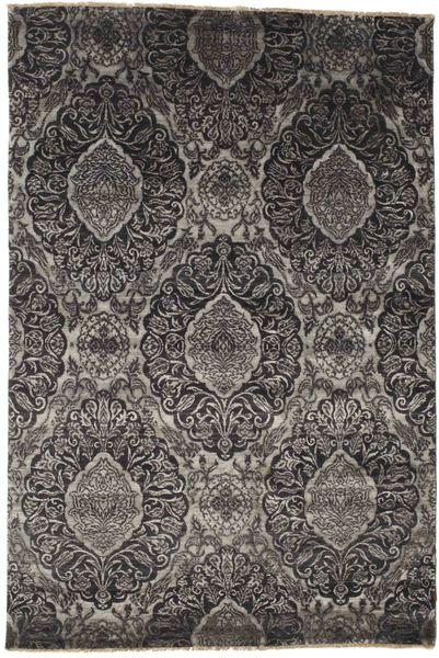 Damask Matto 163X243 Moderni Käsinsolmittu Tummanharmaa/Musta/Vaaleanharmaa ( Intia)