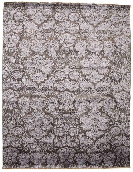 Damask Matto 241X308 Moderni Käsinsolmittu Tummanharmaa/Vaaleanharmaa ( Intia)