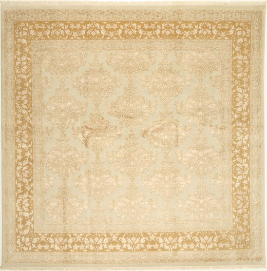 Tabriz Royal Magic Rug 250X250 Authentic  Oriental Handknotted Square Dark Beige/Beige Large ( India)