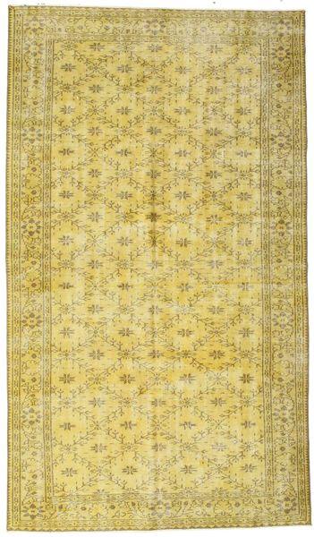 Colored Vintage Matto 161X282 Moderni Käsinsolmittu Keltainen/Oliivinvihreä (Villa, Turkki)