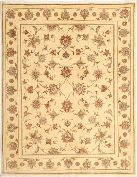 Yazd Rug 197X256 Authentic  Oriental Handknotted Dark Beige/Beige (Wool, Persia/Iran)