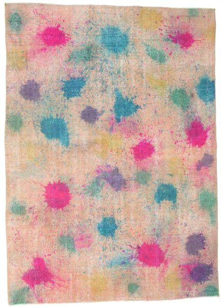Colored Vintage Rug 203X284 Authentic  Modern Handknotted Light Pink/Light Brown (Wool, Turkey)