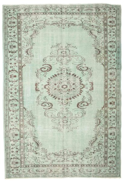 Colored Vintage Rug 190X280 Authentic  Modern Handknotted Light Grey/Pastel Green (Wool, Turkey)