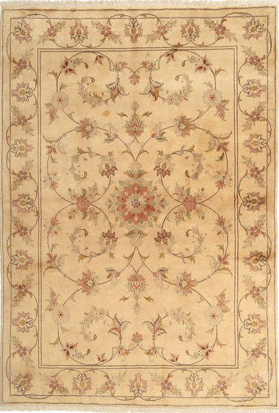 Yazd Rug 167X243 Authentic  Oriental Handknotted Light Brown/Dark Beige (Wool, Persia/Iran)
