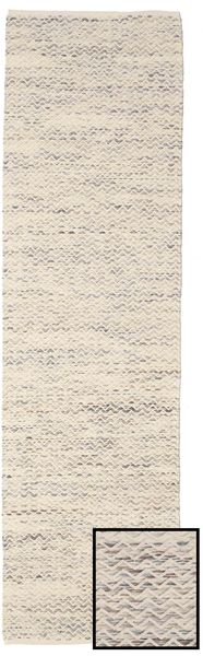 Chevron Waves - Light Rug 80X300 Authentic  Modern Handwoven Hallway Runner  Light Grey/Beige ( India)