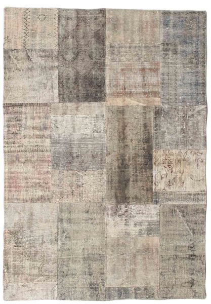 Patchwork Rug 142X202 Authentic  Modern Handknotted Light Brown/Light Grey (Wool, Turkey)