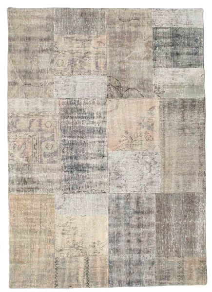 Patchwork Rug 142X200 Authentic  Modern Handknotted Light Grey/Light Brown (Wool, Turkey)
