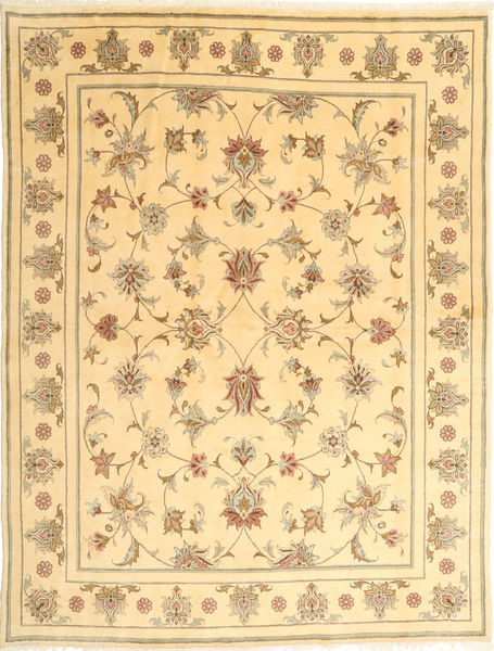 Yazd Teppe 191X249 Ekte Orientalsk Håndknyttet Mørk Beige/Lysbrun/Gul (Ull, Persia/Iran)