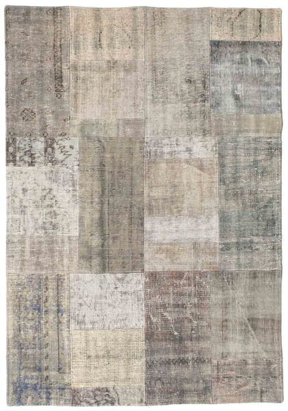 Patchwork Rug 142X202 Authentic  Modern Handknotted Light Grey/Light Brown (Wool, Turkey)