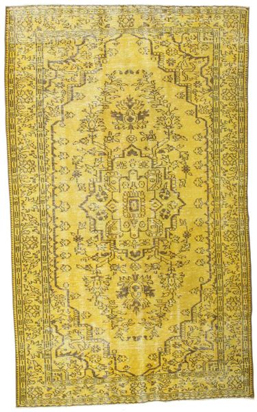 Colored Vintage Rug 157X258 Authentic  Modern Handknotted Yellow/Olive Green (Wool, Turkey)