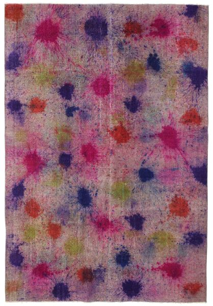 Colored Vintage Tapijt 196X290 Echt Modern Handgeknoopt Roze/Purper (Wol, Turkije)