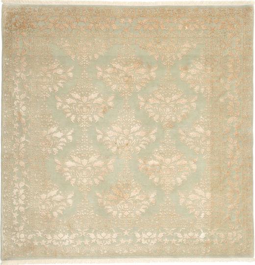 タブリーズ Royal Magic 絨毯 206X206 オリエンタル 手織り 正方形 暗めのベージュ色の/ライトグリーン ( インド)