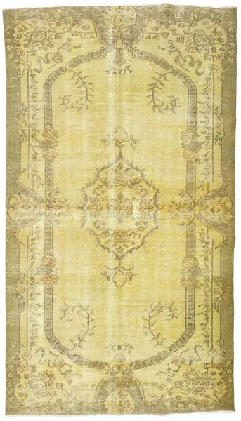 Colored Vintage Rug 164X283 Authentic  Modern Handknotted Yellow/Olive Green (Wool, Turkey)