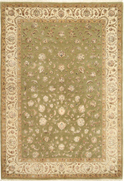 Tabriz Royal Magic Rug 173X247 Authentic  Oriental Handknotted Light Brown/Olive Green ( India)