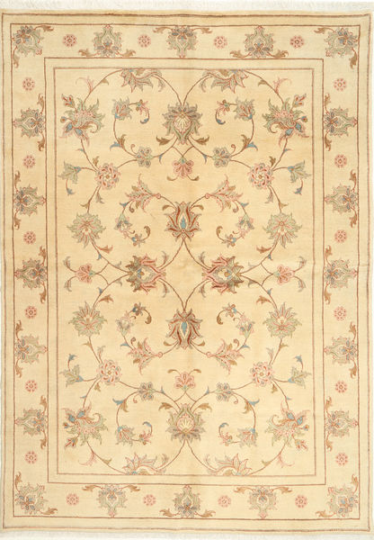 Yazd Rug 167X241 Authentic  Oriental Handknotted Beige/Light Brown (Wool, Persia/Iran)
