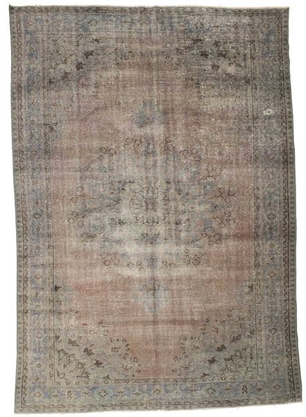 Colored Vintage Rug 201X286 Authentic  Modern Handknotted Light Brown/Dark Grey (Wool, Turkey)