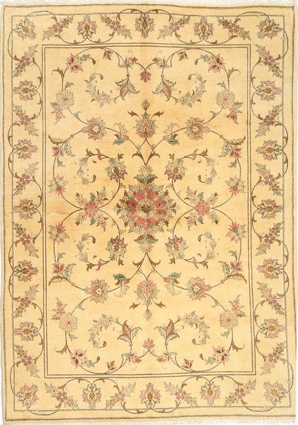 Yazd Rug 170X239 Authentic  Oriental Handknotted Light Brown/Dark Beige (Wool, Persia/Iran)