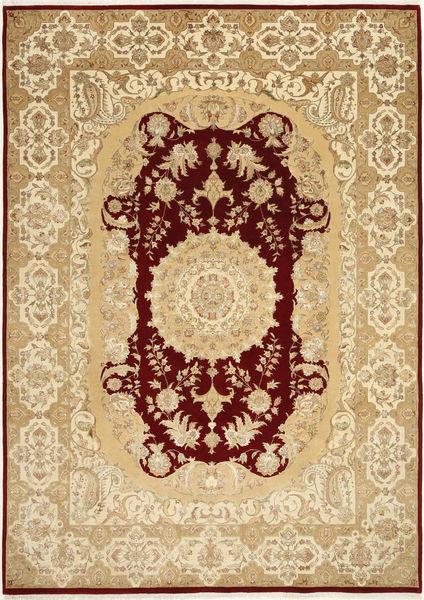 Tabriz Royal Magic Teppe 206X287 Ekte Orientalsk Håndknyttet Lysbrun/Mørk Beige ( India)