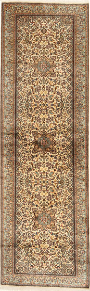 Kashmir Pure Silk Rug 82X277 Authentic  Oriental Handknotted Hallway Runner  Brown/Light Brown (Silk, India)