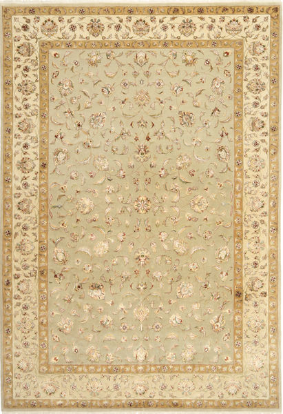 Tabriz Royal Magic Rug 197X294 Authentic  Oriental Handknotted Beige/Dark Beige ( India)