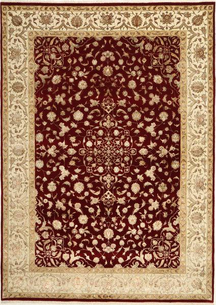 Tabriz Royal Magic Teppe 207X290 Ekte Orientalsk Håndknyttet Lysbrun/Mørk Rød ( India)
