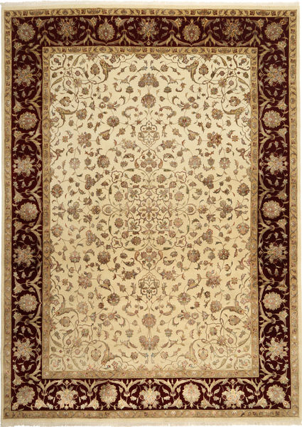 Tabriz Royal Magic Teppe 232X325 Ekte Orientalsk Håndknyttet Lysbrun/Gul ( India)