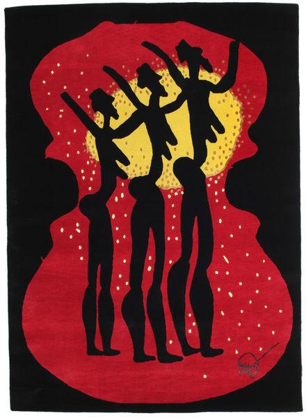 Dance 3 Tapis 158X219 Moderne Fait Main Noir/Rouge (Laine, Inde)