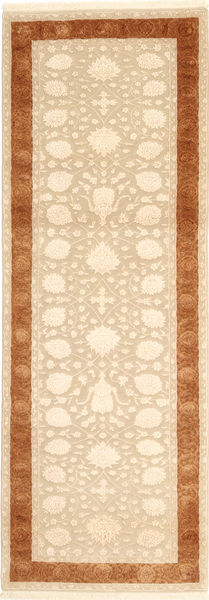 Tabriz Royal Magic Rug 83X245 Authentic  Oriental Handknotted Hallway Runner  Beige/Light Brown ( India)