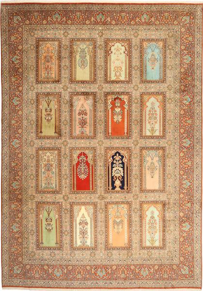 Kashmir 100% Silkki Matto 244X355 Itämainen Käsinsolmittu Vaaleanruskea/Ruskea (Villa/Silkki, Intia)