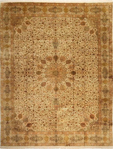 Kashmir Ren Silke Teppe 297X389 Ekte Orientalsk Håndknyttet Brun/Lysbrun Stort (Silke, India)