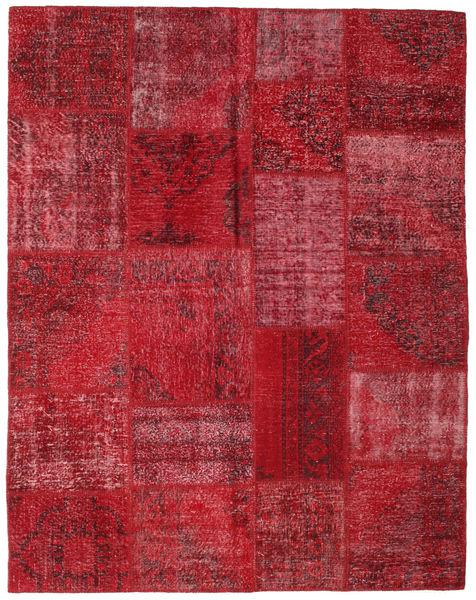 Patchwork Matto 197X251 Moderni Käsinsolmittu Tummanpunainen/Punainen (Villa, Turkki)