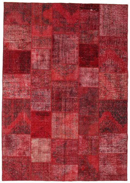 Patchwork Matto 246X352 Moderni Käsinsolmittu Tummanpunainen/Punainen (Villa, Turkki)