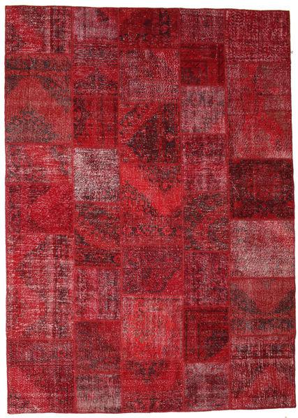 Patchwork Rug 248X350 Authentic  Modern Handknotted Dark Red/Crimson Red (Wool, Turkey)
