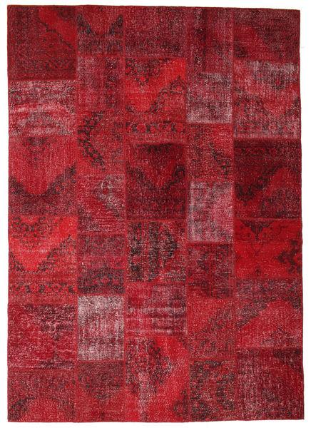 Patchwork Matto 247X350 Moderni Käsinsolmittu Tummanpunainen/Punainen (Villa, Turkki)