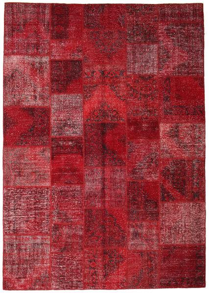 Patchwork Rug 247X353 Authentic  Modern Handknotted Dark Red/Crimson Red (Wool, Turkey)