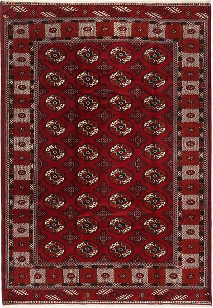 Turkaman Matta 205X300 Äkta Orientalisk Handknuten Mörkröd/Mörkbrun (Ull, Persien/Iran)