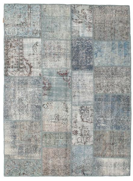 Patchwork Matto 172X231 Moderni Käsinsolmittu Vaaleanharmaa/Sininen (Villa, Turkki)