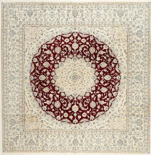 Nain 9La Alfombra 297X297 Oriental Hecha A Mano Cuadrada Beige/Gris Claro Grande (Lana, Persia/Irán)