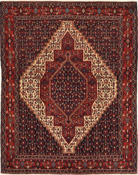 Senneh Matto 120X155 Itämainen Käsinsolmittu Tummanpunainen/Tummanruskea (Villa, Persia/Iran)